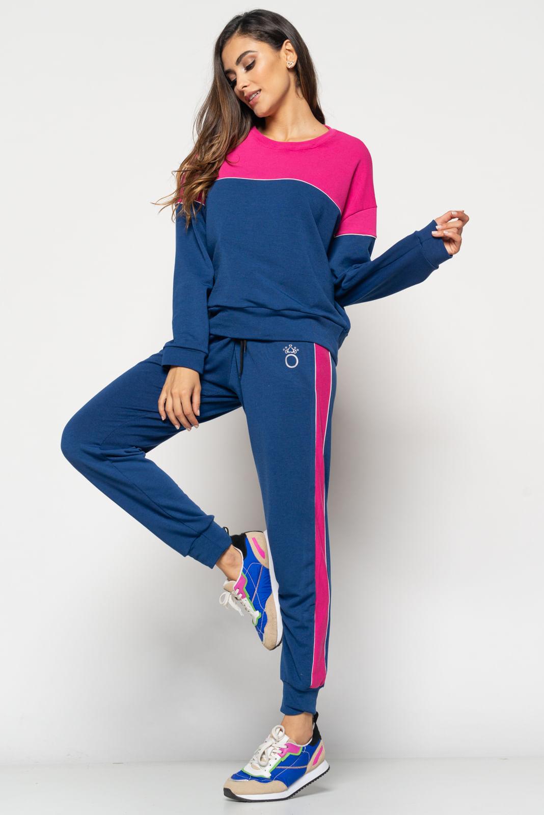 Conjunto  Comfy Com Casaco 2 Cores Gola Redonda e Jogger Moletinho Rosa e Azul